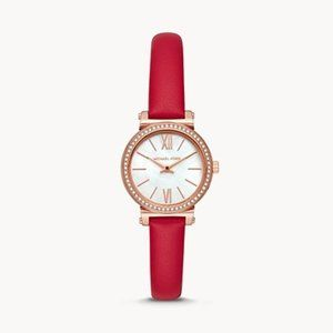 NEW Michael Kors Women's Sofie Red Leather Watch